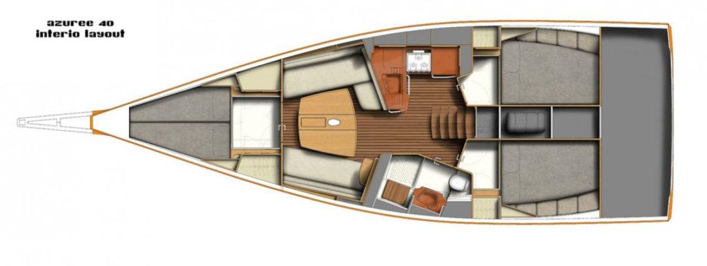 Scheda disposizione intreni Azuree 40 Alantua esperienze di vela